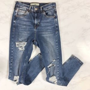 Topshop Moto High Rise Distressed Skinny Jeans 28